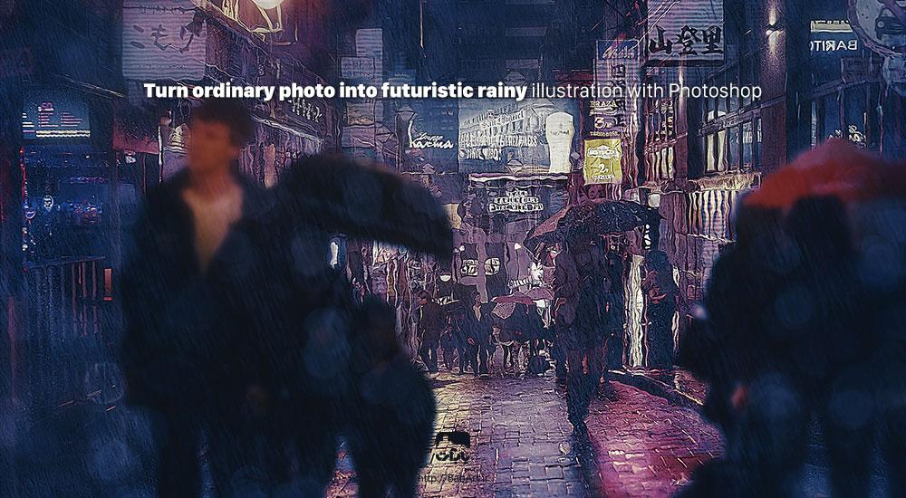 ایجاد افکت بارانی و نقاشی بر روی عکس عادی در فتوشاپ