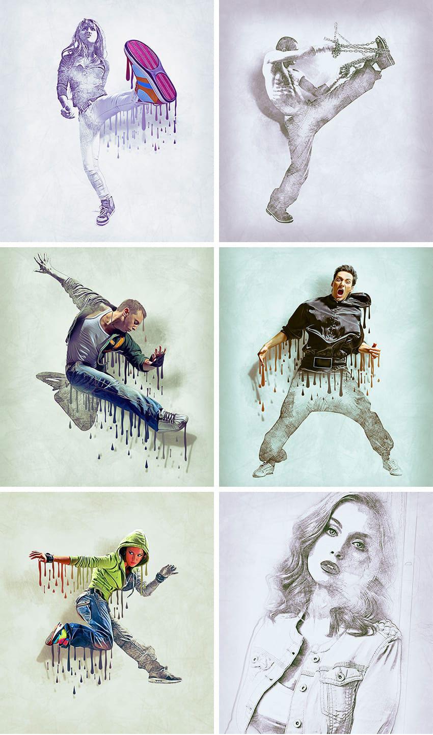 تبدیل عکس به نقاسی مداد رنگی با اثر طرح رنگی و قطرات رنگ