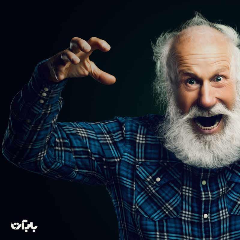 روتوش حرفه ای چهره ی یک پیرمرد و جداسازی موها از پس زمینه(آموزش ویژه رایگان)
