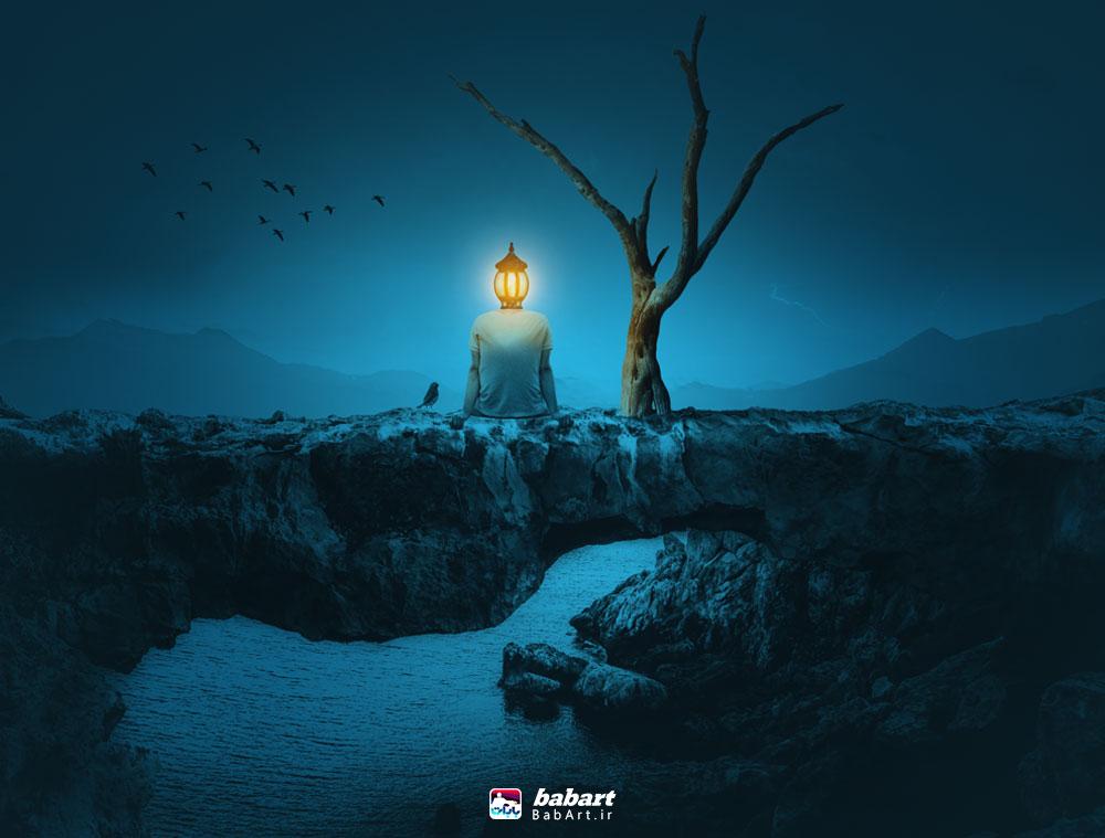 روش ایجاد یک عکس سورئال یک مرد با کله لامپ