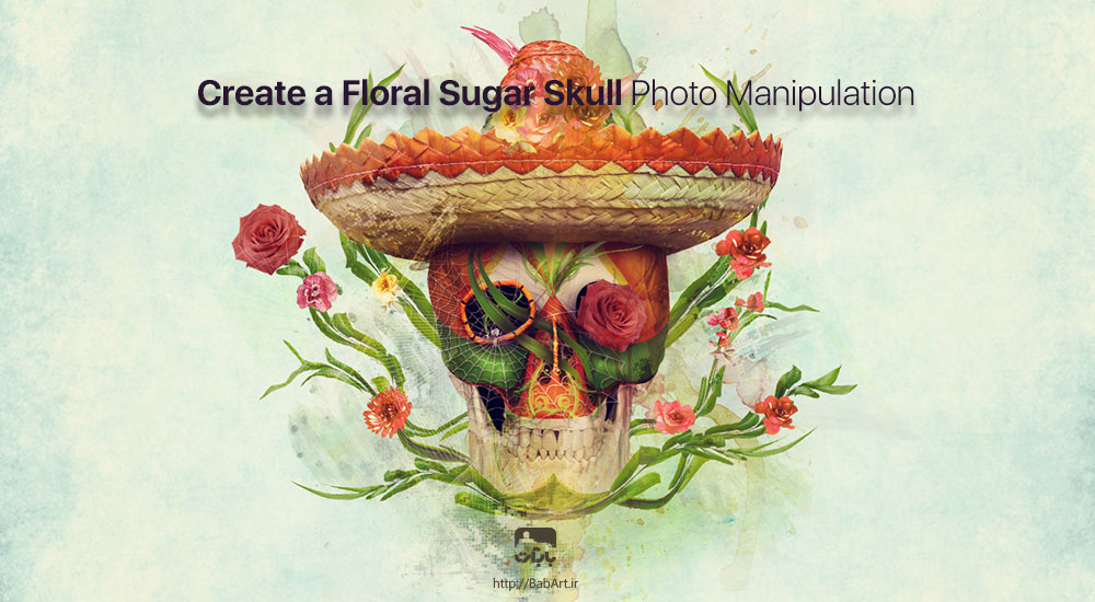 طراحی فانتزی یک جمجمه تزیین شده با گل و گیاه برای کارت پستال