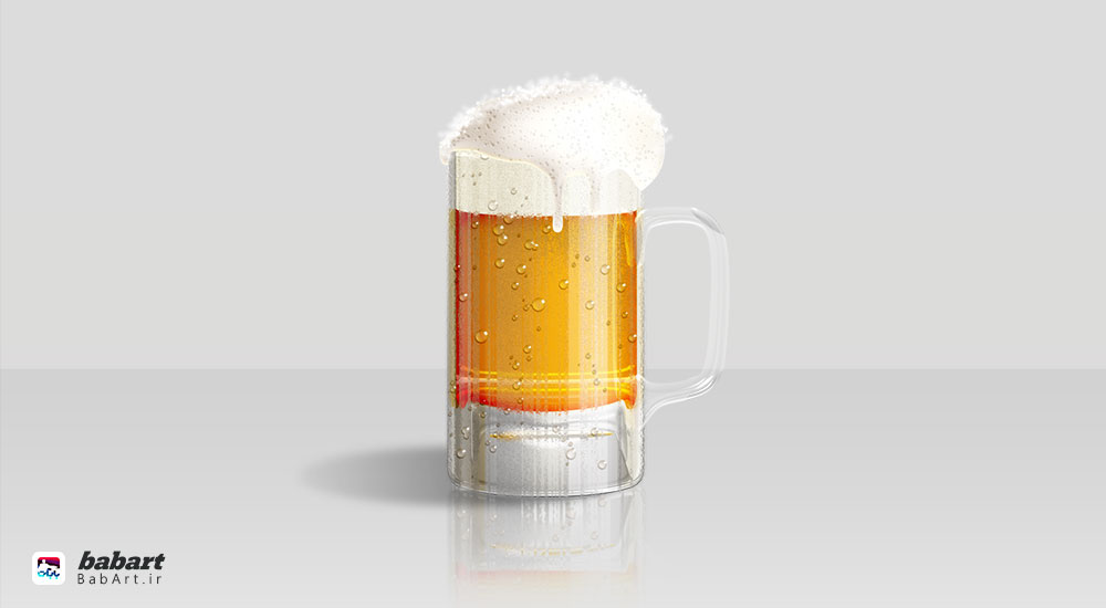 طراحی لیوان شیشه ای نوشیدنی گازدار در فتوشاپ
